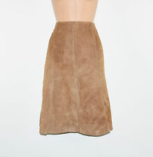 "Vintage Brown Leather H&M Office Pencil Flippy Knee Length Skirt Size W27"" L23"""