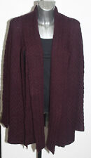 M&S Per Una Sizes M 2XL Open Front Wool Blend Scarf Coatigan Cardigan Burgundy