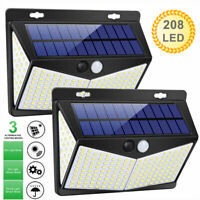 208 LED Solar Power PIR Motion Sensor Wall Lights Garden Outdoor Lamp Waterproof