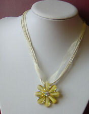 Yellow Flower on Ribbon Pendant Set With Stones and Earings Pierced (Boxed or no
