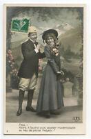 c 1910 European Glamour PRETTY YOUNG LADY w/ amorous gentleman photo postcard