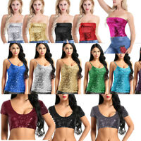 Womens Shiny Sequins Crop Top Vest Tube Top Tank Top Blouse Shirt Raves Clubwear