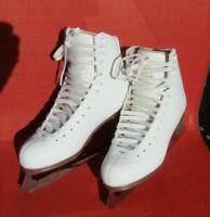 Jackson Mystique Girls White Ice Skates Ultima  Mark II Blades Size 5 1/2 C