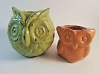 Orange Owl Tealight Holder and Green Owl Candle Holder .. Cute Set