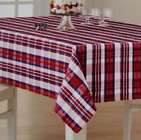 Celebrate Americana Patriotic USA Red White & Blue Seersucker Plaid Tablecloth