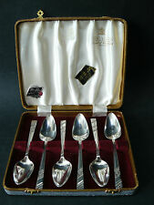 Vintage Box Set 6 EPNS silver plate VINERS of Sheffield SILVER ROSE Fruit Spoons