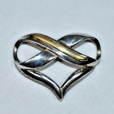 Stunning Sterling Silver 925 & 10K Yellow Gold HEART LOVE Slider Pendant