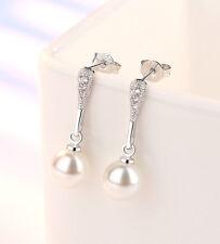 Pendientes de perlas blancas colgantes de plata súper dulce con cristal