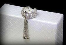 18k White Gold Adjustable Tassel Band Ring w/ Swarovski Crystal Stone Designer