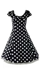 50s vintage inspired black & white polkadot swing dress Rockabilly pin-up
