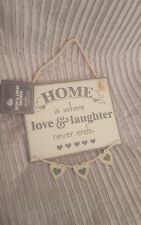 New Wooden Sign Plaque Home is where love and laughter never ends Dangling Heart