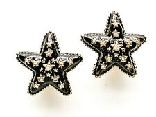Unsigned Large Black Enamel Stars with faux Diamonds Clip Earrings, preowned