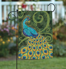 NEW Toland - Pretty Peacock - Cute Colorful Bird Feathers Garden Flag