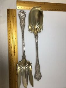 Tiffany & Co Sterling Silver LG OLYMPIAN pattern Salad Serving Set Fork & Spoon