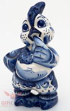 Thumb sucking Rooster gzhel porcelain figurine handmade Russia