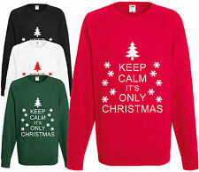 Keep Calm It's Only Christmas Sweatshirt Novelty Funny Xmas Jumper Pullover Tree