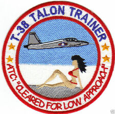 T-38 TALON TRAINER PATCH, GIRL IN RED BIKINI ON BEACH, CLEARED LOW APCH        Y