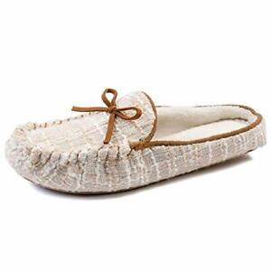 NEW ZIZOR Women's Comfy Moccasin Mules Slipper Slip On Memory Foam, UK 6-7 beige