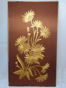 Flower Composition Vtg Soviet Hand Craft Wood Fabric Picture Floral Arrangement