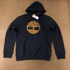 Timberland Mens Hoodie Navy Pullover Drawstring Kangaroo Pocket Sweatshirt M New
