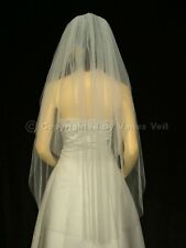 2T Ivory Waltz Knee Length Cut Edge Bridal Wedding Veil