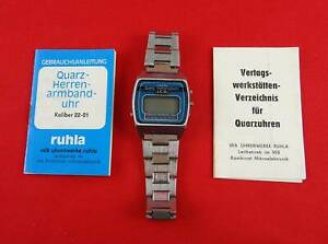 alte Uhr RUHLA *Quartz* LCD Chronograph Herrenuhr mit Band DDR