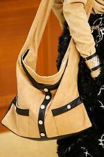 CHANEL $4900 Tan Suede Black Lambskin Jacket Crossbody/Shoulder *GIRL BAG* GHW!!
