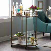 Modern Glam Gold Metal Marble Serving Cart Buffet Server Mobile Home Bar Cart