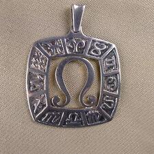 Grand pendentif signe du zodiaque lion en argent