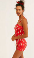 NEW Free People Intimately Seamless Bootay Heart Romper Red Sz XS/S-M/L $67.11