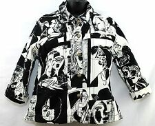 Kaktus Artsy Picasso Jacket Black White Faces Art Hip Lightweight Stretch Size M