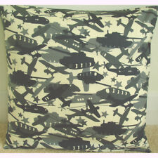"""Military Vehicles 16"""" Cushion Cover Army Tank Fighter Plane Chinook Black Grey"""