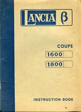 Lancia Beta Coupé 1600 1800 1st series original English handbook 1974