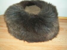 LADIES BROWN 100% SHEEPSKIN WARM HAT WITH SUEDE TOP
