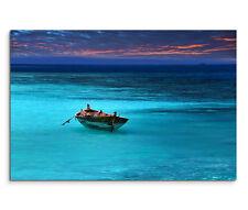 120x80cm Leinwandbild auf Keilrahmen Boot Meer Ozean Sturm Sonnenuntergang