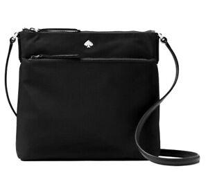 New Kate Spade Jae Flat crossbody handbag Nylon Black