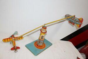 Vintage Unique Art Sky Rangers Airplane Blimp Tin Metal Wind-Up Toy WORKS