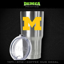 Michigan Wolverines -Yeti/Rtic/Yeti Rambler/Tumbler/Coffee Mug-Decal-Yellow