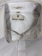 Etienne Aigner Long Sleeve Dress Shirt 16 1/2 34/35 White Polyester Cotton MC257