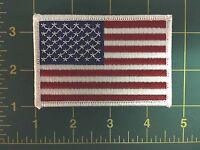 """AMERICAN FLAG EMBROIDERED PATCH WHITE BORDER US UNITED STATES SHOULDER 3.5"""""""