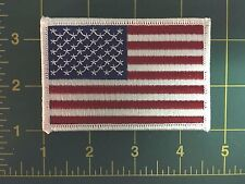 AMERICAN FLAG EMBROIDERED PATCH WHITE BORDER US UNITED STATES SHOULDER 3.5""