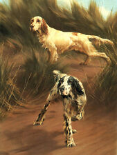 ENGLISH SETTER CHARMING DOG GREETINGS NOTE CARD TWO DOGS IN SCENIC SETTING