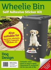 Wheelie Bin Self Adhesive Sticker Kit - I Love Dogs Design