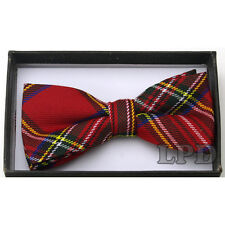 RED GREEN WHITE PLAID TUXEDO ADJUSTABLE BOW TIE TARTAN RED BOWTIE NEW IN BOX