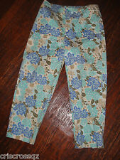 White Stag * BLUE Tan WHITE Floral * STRETCH Crop Pants CAPRIS * sz 6 * EUC *