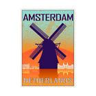 Travel Amsterdam Netherlands Windmill City Sails Framed Wall Art Print