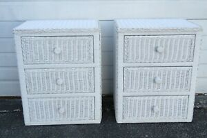 Painted Bamboo Hollywood Regency Pair of Nightstands Side End Tables 1892