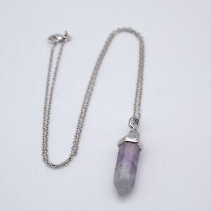 "Flourite Pendant Necklace Wand Bullet 20"" Silver Chain Reiki Heal Chakra UK"