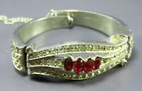 Vintage CLAMPER STYLE BANGLE BRACELET Clear & Ruby Red RHINESTONES Silver Tone