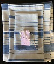 NEW LINEN BLEND HANDMADE BATH TOWELS SET of 3-COTTAGE STRIPE FRENCH BLUE